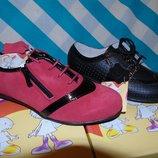 Кожаные полуботиночки туфли черные или красные р.32-37