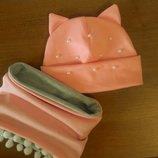 Шапка с ушками и хомут для девочки в асортименте