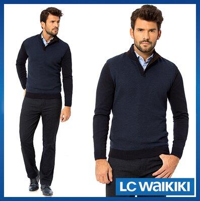 Cиний мужской свитер LC Waikiki / Лс Вайкики с отложным воротником
