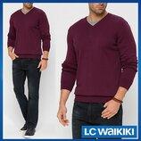 Бордовый мужской свитер LC Waikiki / Лс Вайкики с V-образным вырезом