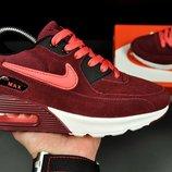Кроссовки женские Nike Air Max бордовые замш
