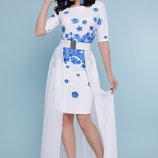Нарядное платье цветы на белом креп дайвинг
