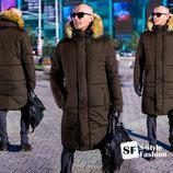 051 Зимняя Мужская Куртка-Пальто С Мехом На Капюшоне 17252
