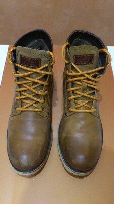 Ботинки зимние кожаные мужские Черевики зимові шкіряні чоловічі Bugatti Fox f6955 р.44