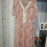 52/6XL/60 Винтажное воздушное летнее платье свинг принт турецкие огурчики этно стиль 24
