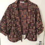Кардиган на межсезонье легкая куртка кроп пиджак бохо шик этно стиль м