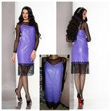 Коктельные платья миди двойка в бельевом стиле с кружевом 5 цветов с,м,л