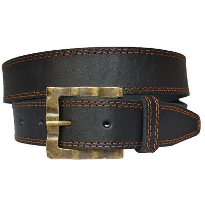 Harmony кожаный мужской ремень черный пояс прошитый со строчками для джинсов
