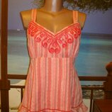 Блуза маечка хлопковая хлопок коралловая сутажная вышивка per una р.12-14 Marks & Spencer