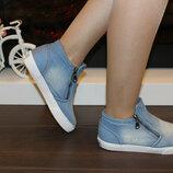Слипоны женские джинсовые голубые Т169
