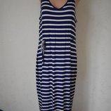 Длинное трикотажное платье в полоску большого размера 20p