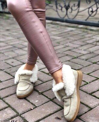 Женские зимние ботинки лоферы Loro Piana