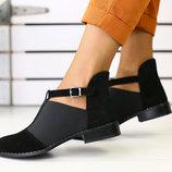 Туфли из натуральной кожи замши на толстом каблуке Новинка Производитель Украина
