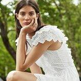 Блузка H&M TREND с вышивкой XS и S белый хлопок