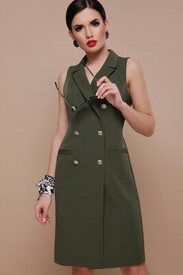 Женское платье жилет хаки креп-костюмка
