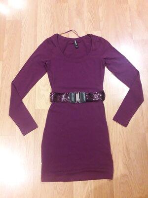 Трикотажное платье с поясом размер XS Takko