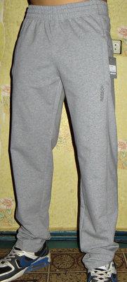 Спортивные штаны Reebok лето прямые светло-серые.