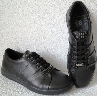 Philipp plein Мужские туфли кроссовки из черной натуральной кожи.