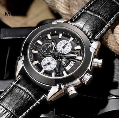 Мужские наручные часы Megir. Классические кварцевые часы с хронографом