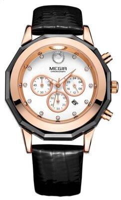 Женские наручные часы Megir Guaro Black. Классические кварцевые часы с хронографом