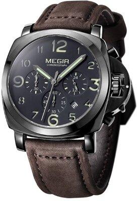 Мужские наручные часы Megir Pride. Стильные кварцевые часы с хронографом и датой