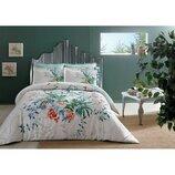 Постельное белье Tac сатин Delux - Aden цветы зеленый евро