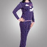 Комплект женский пижама трикотажный. Для дома с вышивкой