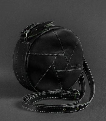 0de59b9f7fb5 Круглая женская сумка-клатч кожаная Krast черная ручная работа. Previous  Next