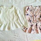 GEORGE. H&M. Нарядные блузы. Туника. кружево. Как новые. Принт бабочки. Стрекозы. Белоснежная.