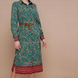 Платье-Рубашка изумруд синий бордо софт