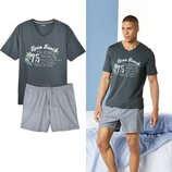 Летний комплект, мужская пижама домашний костюм Livergy Германия, футболка шорты