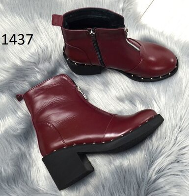 Кожаные и замшевые ботинки никель, черные и марсала