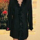 Пальто женское чёрное с мехом размер 42-44 Hennes.