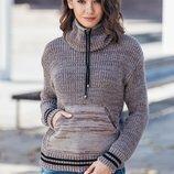 Теплый свитер 44-52 размеры с карманом кенгуру 6 расцветок