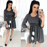 Шикарное платье ткань двунитка петля с люрексом и помпонами арт.50372 скл.1