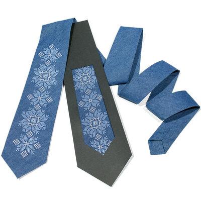 Джинсова вишита краватка