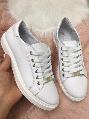 Продано: Отличные кожаные кеды, белые