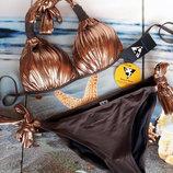 Брендовый купальник с пуш-ап качества люкс с золотой отделкой