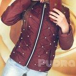 куртка Синтепон , стежка, декор - белый жемчуг Цвет бордо розовый белый Очень нежная, красивая, н