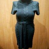 Платье теплое 44-46 т.серое с поясом