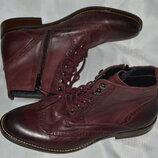 Розкішні марсалові ботинки броги кожа Pier One размер 42, ботінки шкіра