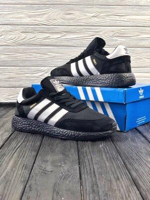 Мужские черные кроссовки adidas iniki black