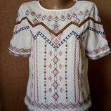Блузка футболка с вышивкой и тесьмой Marks&Spencer размер 8-10