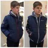Куртка демисезонная бомбер на мальчика синего цвета р.140-158