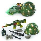 Набор военного с каской 8028 каска автомат бинокль, фляга, нож, рация