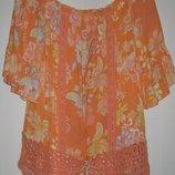 Оранжевая блуза с кружевной отделкой Next