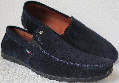 Massimo Dutti Мужские замшевые синего цвета мокасины комфортная обувь реплика Массимо дутти
