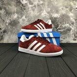 Красные замшевые кроссовки, кеды adidas gazelle 36, 37, 38, 39, 40 рр