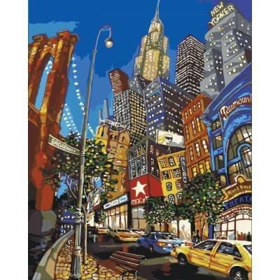 Картина по номерам. Городской пейзаж По улицам Нью-Йорка 40х50см KHO2172