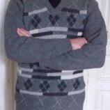 Теплый мужской шерстяной свитер полувер, Bogner,48-50 р